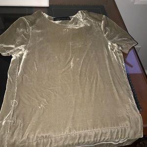 Zara size xsmall velvet taupe short sleeve blouse
